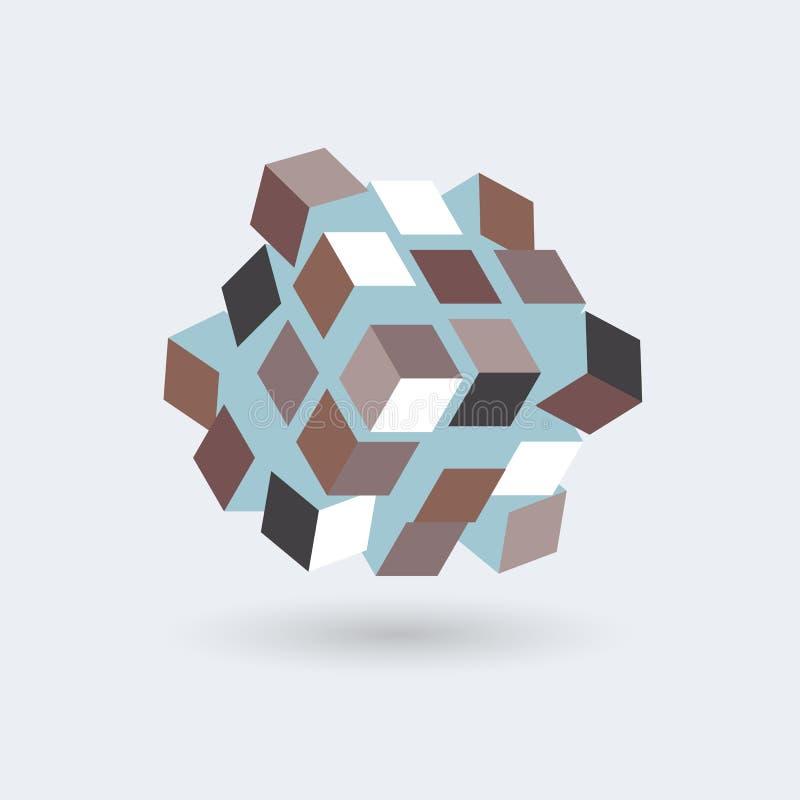 Abstrakt begreppkuber som bildas i en kub, futuristisk transformator, vektorobjekt royaltyfri illustrationer