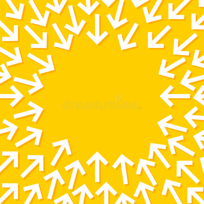 Abstrakt begreppsmässig illustration av vita pilar som pekar in mot mitten vektor illustrationer