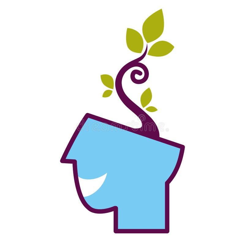 Abstrakt begreppsmässigt symbol för psykologi av huvudet och trädet för vektor det mänskliga royaltyfri illustrationer