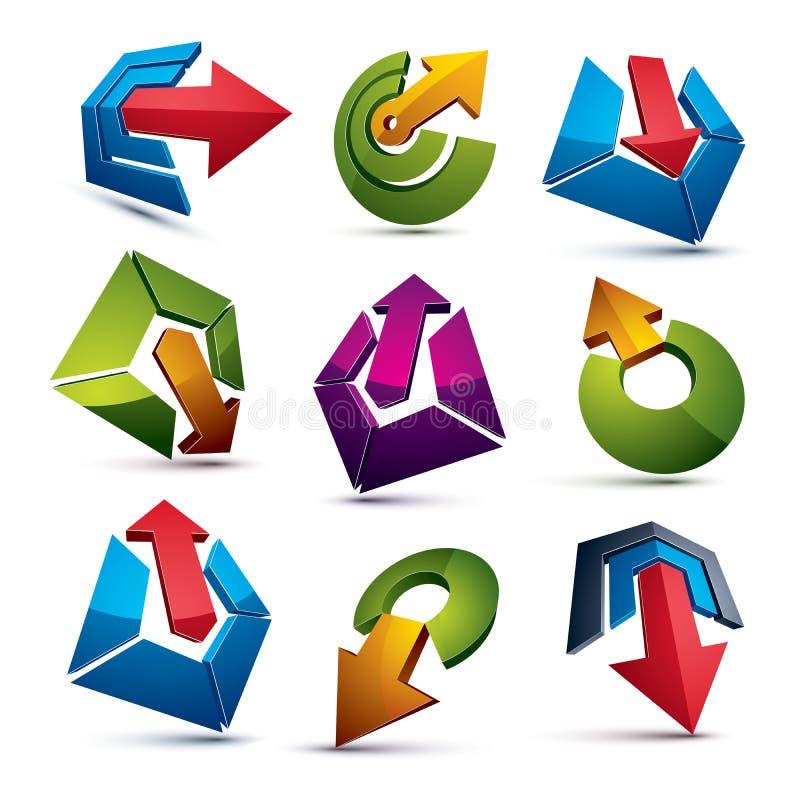 Abstrakt begreppsymboler för vektor 3d ställde in, den enkla företags grafiska designen el vektor illustrationer