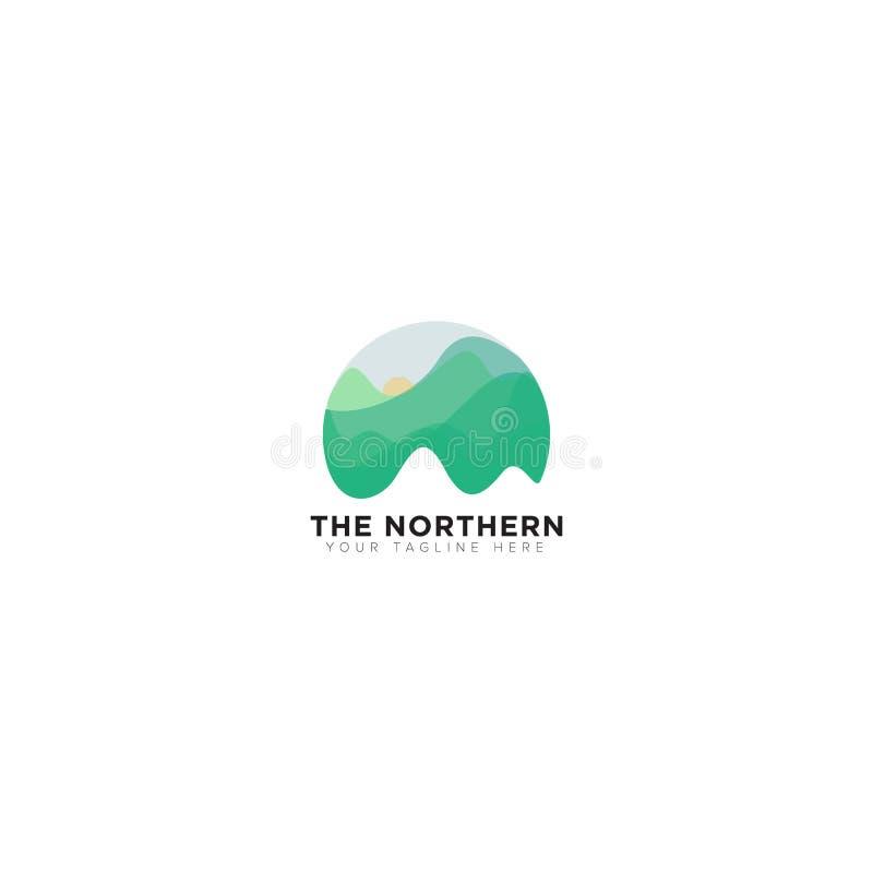 Abstrakt berg de nordliga ljusen Logo Design stock illustrationer