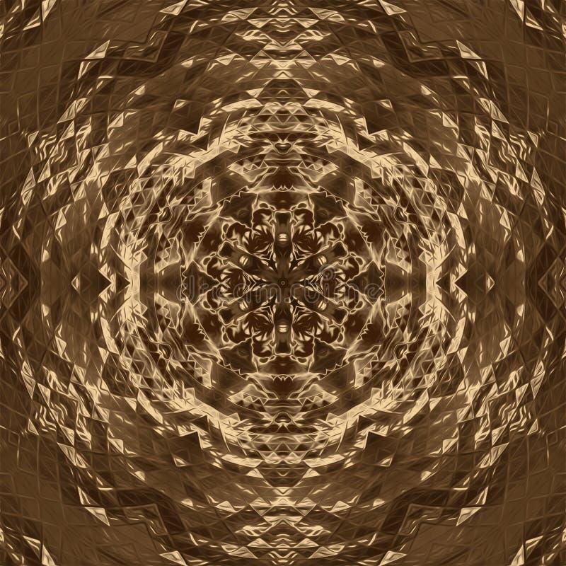 Abstrakt beståndsdel för guld- mosaik och kalejdoskopbakgrund, trenddekor vektor illustrationer