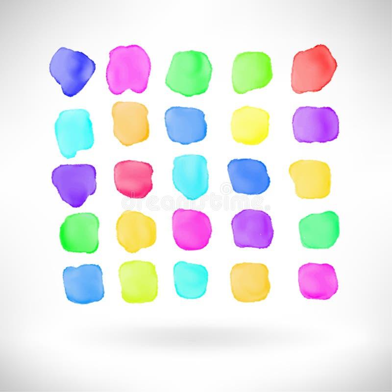 Abstrakt beståndsdel för vattenfärgfärgstänkdesign vektor illustrationer