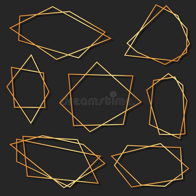 Abstrakt beståndsdeluppsättning av den geometriska polyhedronen för bröllopinbjudan, mallar, dekorativa modeller ocks? vektor f?r royaltyfri illustrationer