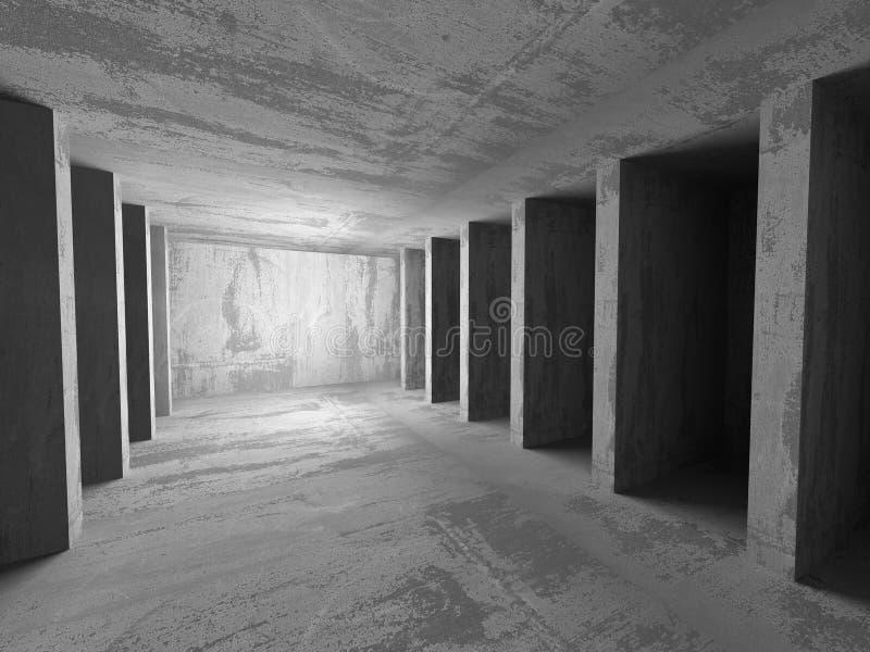 Abstrakt betonowej architektury suterenowy izbowy geometryczny backgroun ilustracji