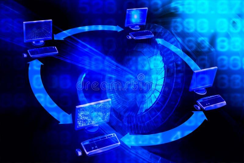 Abstrakt bigdatabakgrund Digital information om stor dataillustration Dataström stock illustrationer
