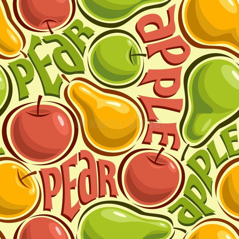 Abstrakt bild av äpplen och päron stock illustrationer