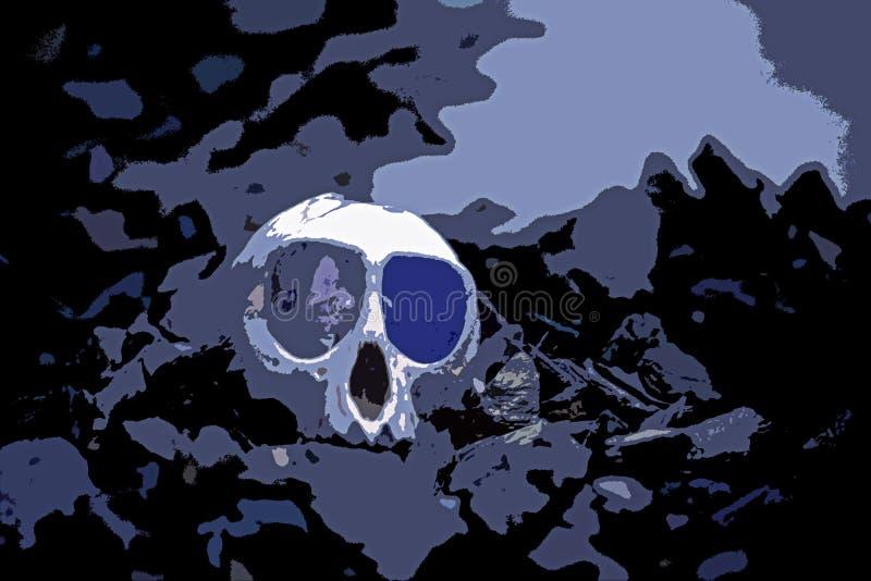 Abstrakt bild av en mänsklig skalle stock illustrationer