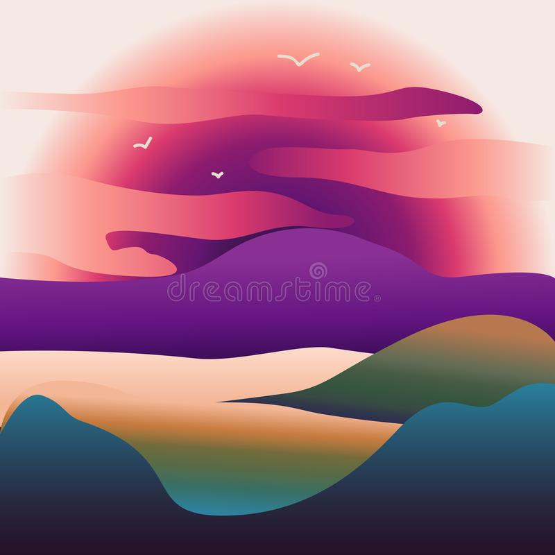 Abstrakt bild av en solnedgång- eller gryningsol över bergen på bakgrunden och floden eller sjön på förgrunden stock illustrationer