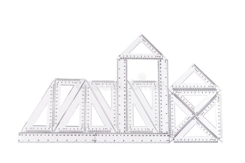 Abstrakt bild av konstruktion som göras från genomskinliga linjaler stock illustrationer