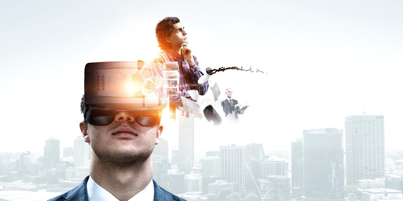 Abstrakt bild av virtuell verkligheterfarenhet, en man i VR-exponeringsglas royaltyfria bilder