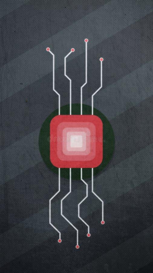 Abstrakt bild för mikrochip av processorn på en grå bakgrund vektor illustrationer