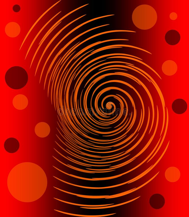 Abstrakt bild med glödande orange spiral och cirklar på röd och svart lutningbakgrund, brännhet infernalisk sinnesrörelse vektor illustrationer