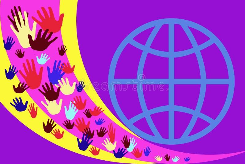 Abstrakt bild med mångfärgade händer på en bakgrund av gula och purpurfärgade band stock illustrationer