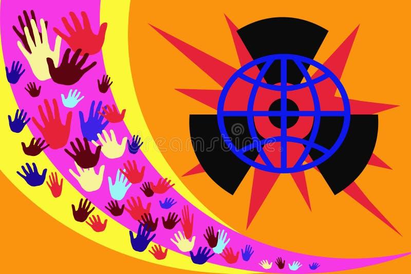 Abstrakt bild med mångfärgade händer på en bakgrund av gula och purpurfärgade band royaltyfri illustrationer