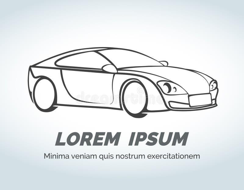 Abstrakt bilvektorlogo för lopp, auto lager och vektor illustrationer