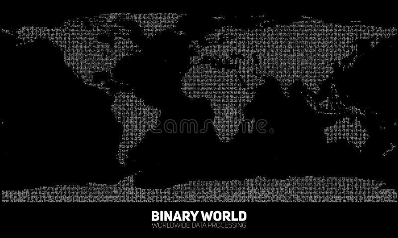 Abstrakt binär världskarta för vektor Kontinenter som konstrueras från binära nummer Globalt informationsnätverk royaltyfri illustrationer