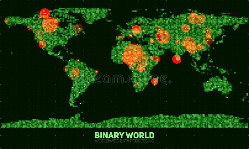 Abstrakt binär världskarta för vektor Kontinenter som konstrueras från gröna binära nummer Globalt informationsnätverk royaltyfri illustrationer