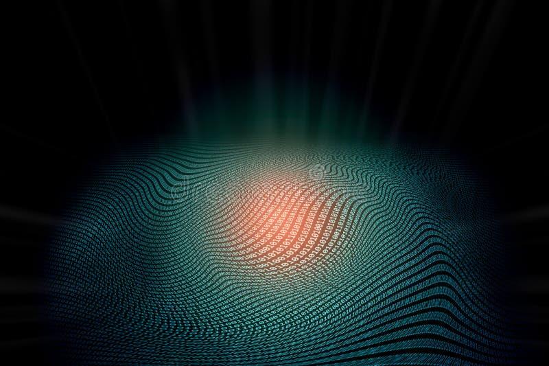 Abstrakt binär zero-onekodtext i vågformat med maktenergi i röd färg för glöd på mitten royaltyfri illustrationer