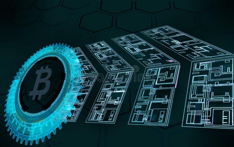 Abstrakt bitcoinsymbol och pilar royaltyfri illustrationer