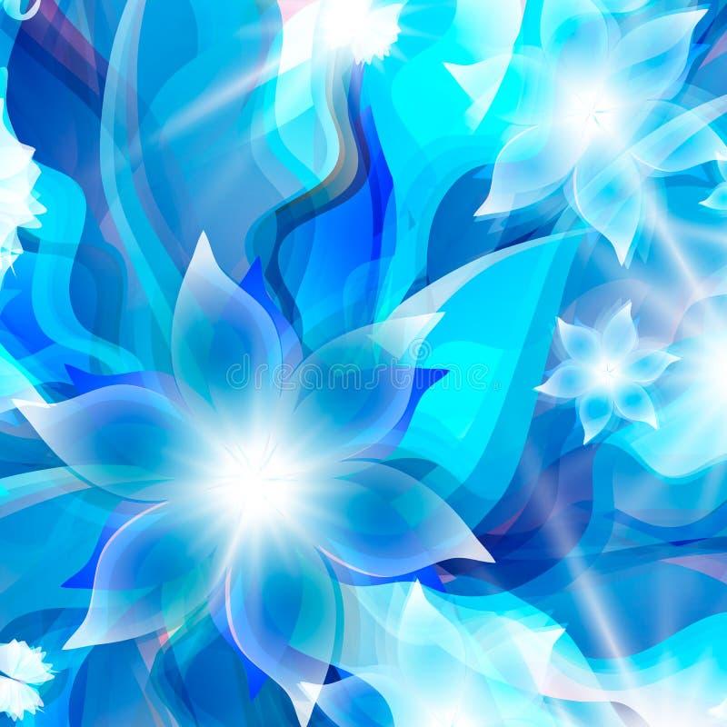 Abstrakt blå bakgrund för blom- beståndsdelar royaltyfri illustrationer