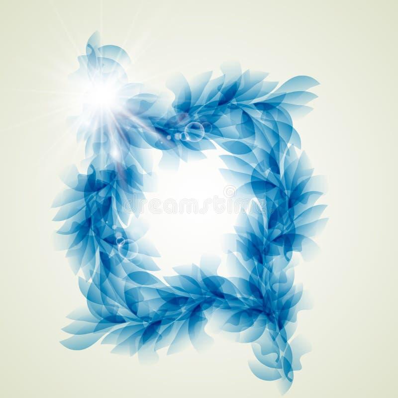 Abstrakt blå bakgrund för blom- beståndsdelar stock illustrationer