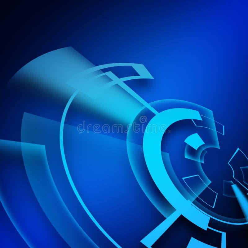 Abstrakt blå bakgrund för digital teknologi stock illustrationer