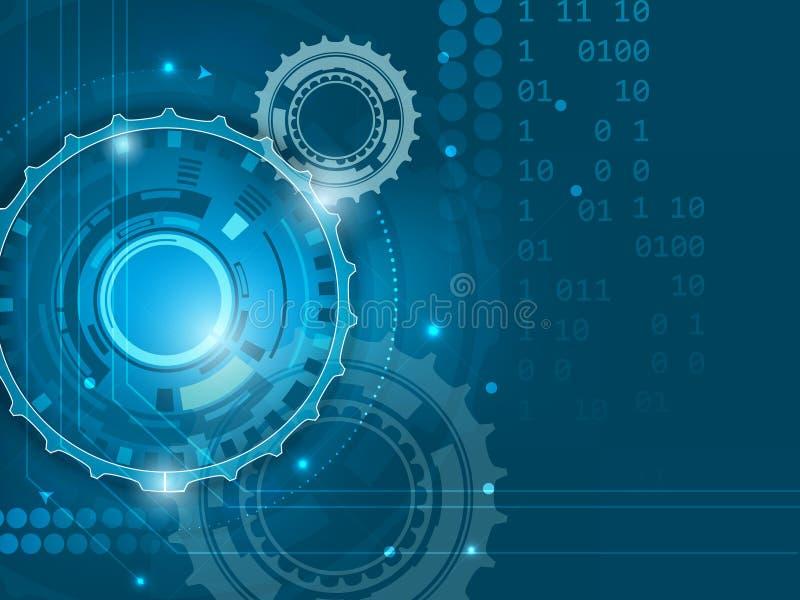 Abstrakt blå bakgrund för digital teknologi med kugghjul royaltyfri illustrationer