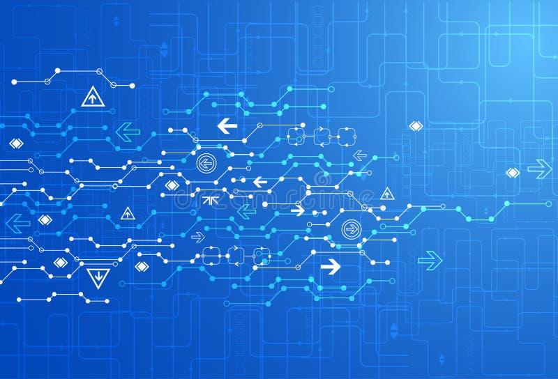 Abstrakt blå bakgrund för teknologi för digital kommunikation royaltyfri illustrationer
