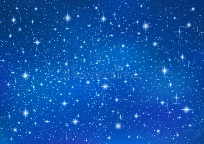 Abstrakt blå bakgrund med brusanden som blinkar stjärnor Kosmisk skinande galaxhimmel stock illustrationer
