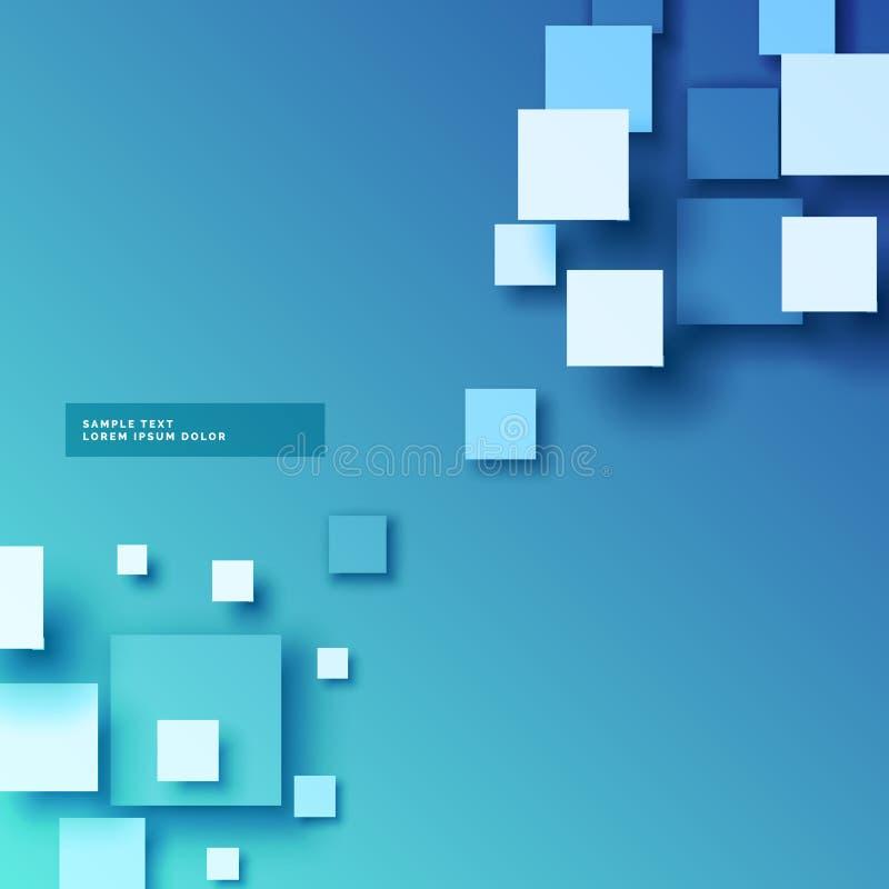 Abstrakt blå bakgrund med effekt för fyrkanter 3d royaltyfri illustrationer