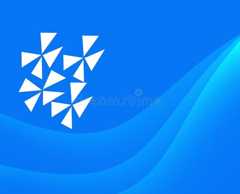 Abstrakt blå bakgrund med lutning och vita fanblad royaltyfri illustrationer