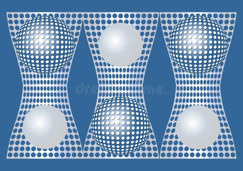 Abstrakt blå bakgrund med metalliska raster- och sfärbeståndsdelar för silver, optisk konststil vektor illustrationer