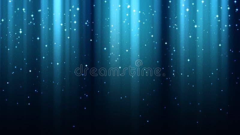 Abstrakt blå bakgrund med strålar av ljus, norrsken, mousserar, stjärnklar himmel för natten stock illustrationer
