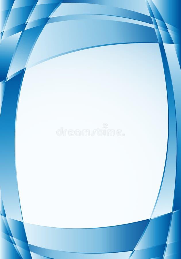Abstrakt blå bakgrund med vågor och en vit fyrkant i mitt som förlägger texter Format A4 - 21cm x 30cm royaltyfri illustrationer