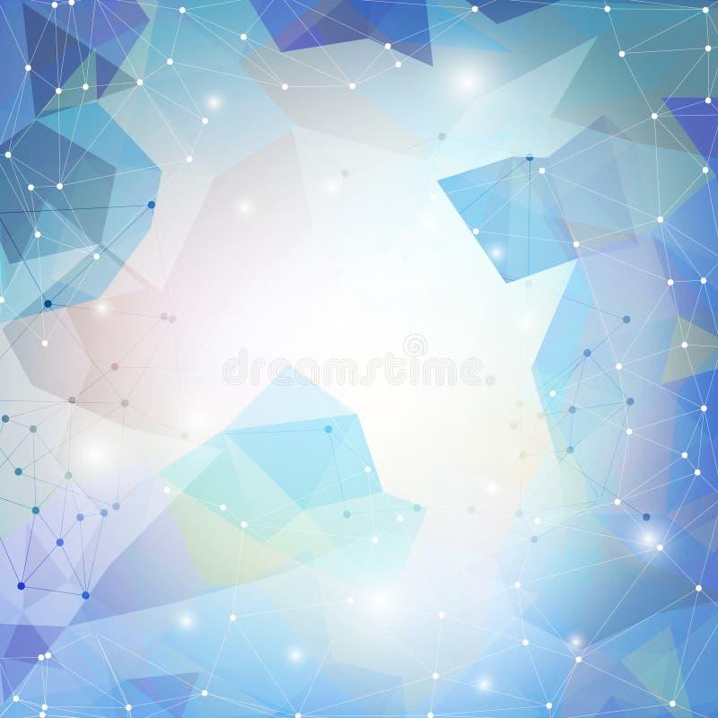 Abstrakt blå bakgrund, triangeldesignvektor vektor illustrationer