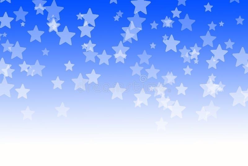 Abstrakt blå bokehstjärnabakgrund stock illustrationer