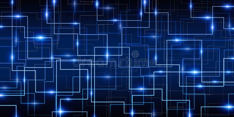 Abstrakt blå Cyberbakgrund royaltyfri illustrationer