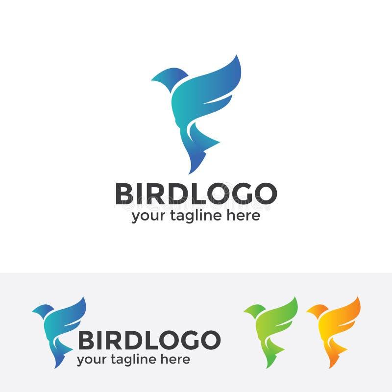 Abstrakt blå fågellogo vektor illustrationer