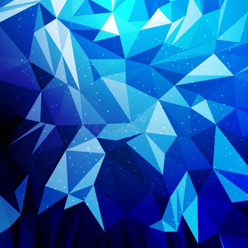 Abstrakt blå geometrisk triangulär desing låg polygonbakgrund stock illustrationer