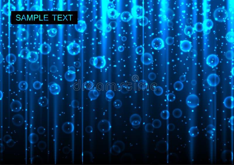 Abstrakt blå glödande bakgrund royaltyfri illustrationer