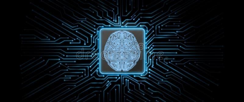 Abstrakt blå glödande bakgrund för strömkretsbräde med hjärnlogo på mitten vektor illustrationer
