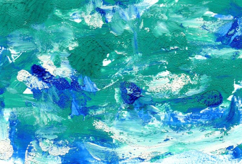 Abstrakt blå grön bakgrundsmålarfärgteckning stock illustrationer
