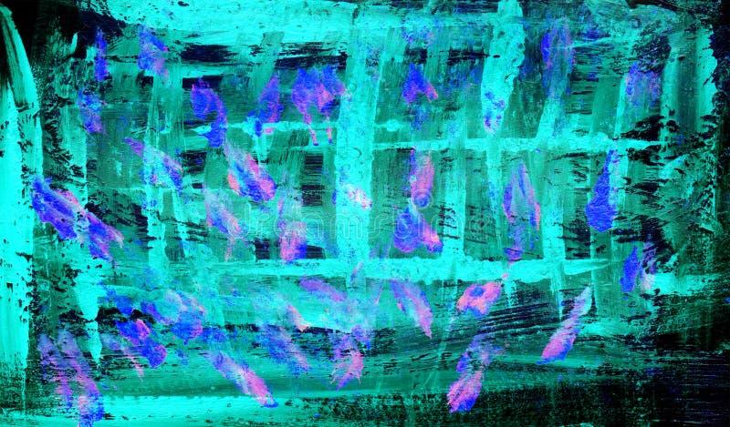 Abstrakt blå grön bakgrundsmålarfärgteckning vektor illustrationer