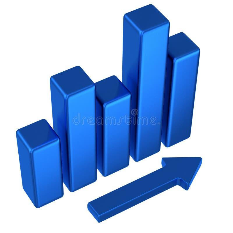 abstrakt blå graf för affär 3d stock illustrationer