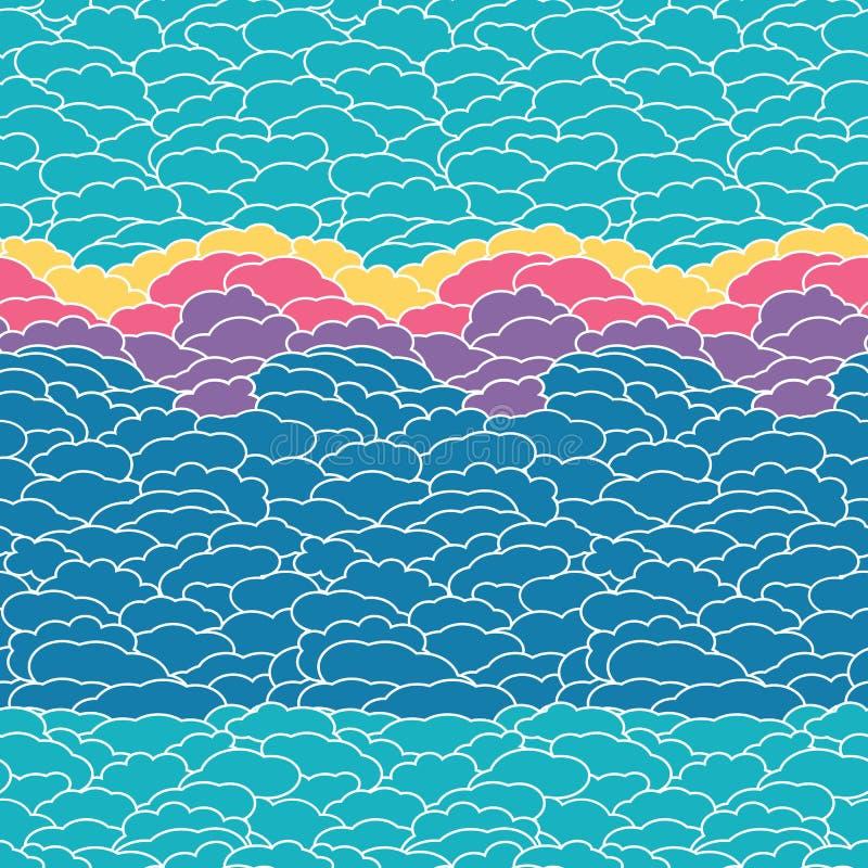 Abstrakt blå himmel med moln på solnedgången, sömlös modellbakgrund för vektor för tyg, tapet, scrapbooking projekt royaltyfri illustrationer