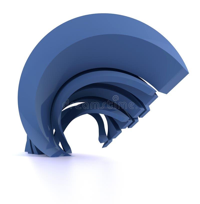 Abstrakt blå krökt form vektor illustrationer