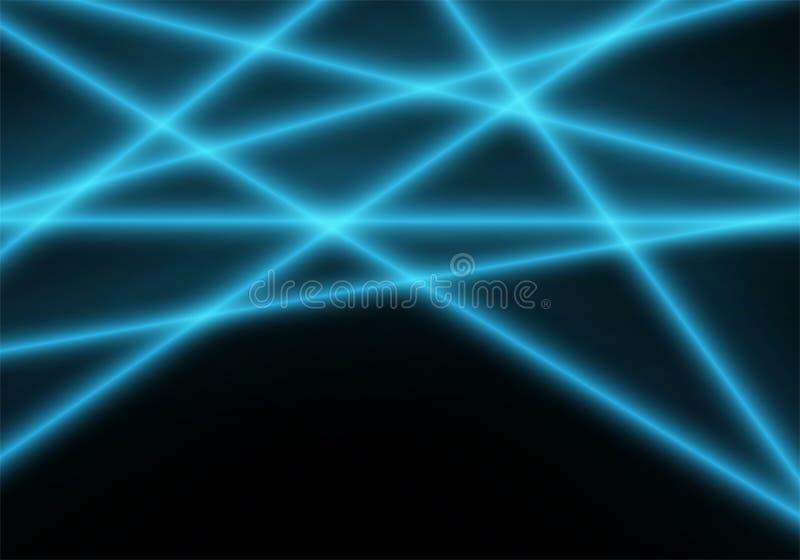 Abstrakt blå ljus laserstråle på svart teknologibakgrundsvektor royaltyfri illustrationer