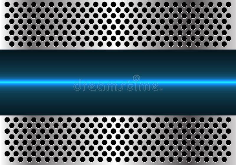 Abstrakt blå ljus linje teknologi i vektor för bakgrund för design för metallcirkelingrepp modern futuristisk stock illustrationer