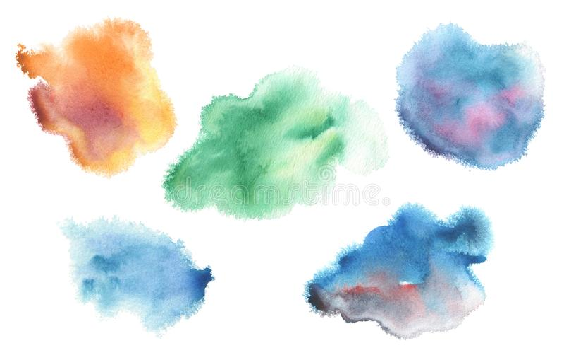 Abstrakt blå målad bakgrund för vattenfärg fläck isolerat stock illustrationer